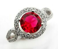 AAA Grade 3CT Ruby & Topaz 925 Solid Sterling Silver Ring Jewelry Sz 7, SC19