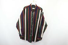 Vintage 90s Mens XL Color Block Striped Long Sleeve Button Front Collared Shirt