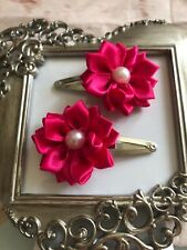girls hair clips snap clips slides bendies flower hair clip Fushia