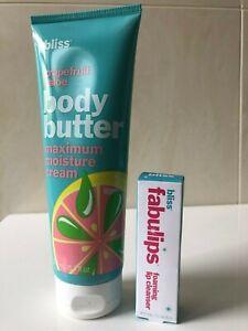 Bliss Grapefruit and Aloe Body Butter 200ml + Bliss Fabulips LOT of 2
