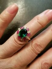 LOVELY 2.17 CT RUSSIAN EMERALD & 1.05 CT RUBY 10KT SOLID GOLD RING SIZE 7
