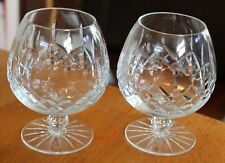 Pair of Quality Vintage Heavy Crystal Brandy Glasses Cut Glass 2 Whisky Balloons
