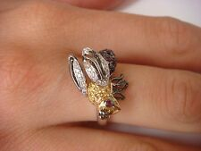 "AMAZING, 14K GOLD, ""BEE"" DESIGN, LADIES RING WITH DIAMONDS, SAPPHIRES & RUBIES"