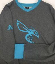 Adidas~NBA Men's Charlotte Hornets Sweater Pullover~V-Neck~Gray/W Teal ~XL *EUC*