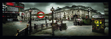 Piccadilly Circus London Panorama Photo Thick Cardstock Poster 37x13 inch