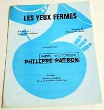 Partition sheet music PHILIPPE PATRON / DANIEL BALAVOINE : Les Yeux Fermés *80's