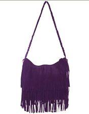 Women Tassel Fringe Shoulder Messenger Suede Handbag Cross Body Bag Purse