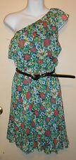 Olsenboye Junior One (1) Shoulder Chiffon Ruffle Dress Multi-Color Large (L) NWT