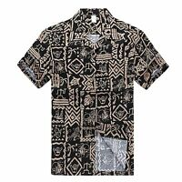 Men Aloha Shirt Cruise Tropical Luau Beach Hawaiian Party Black Hang Loose Shaka
