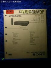 Sony Service Manual SLV E100AE / AP / VP Video Recorder (#1210)