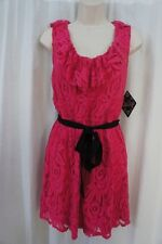 BeBop Juniors Dress Sz L Pink Lace Belted Sleeveless Cocktail Dinner V Neck
