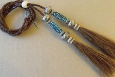 Horsehair stampede string, hat string, brown/blue beads, cotter-pin, hat string