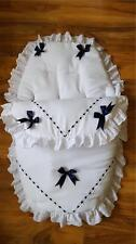 Baby's Cosy Toes / Footmuff 3-in-1 in WHITE with NAVY  AND LARGE NAVY  BOWS