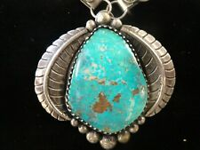 Navajo Sterling Silver Quality Royston Turquoise Pendant Necklace .925