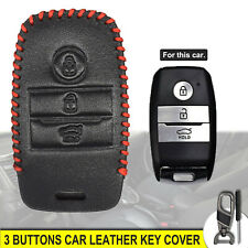 Car Key Leather Cover Fob Case 3 Buttons For Kia Optima Sportage Soul Carens Rio