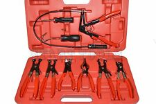 9 PC MECHANIC'S HOSE CLAMP RING PLIERS TOOL SET FLEXIBLE CABLE SWIVEL JAW CLAMP