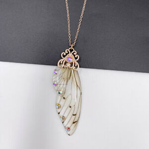 Fairy Gold Pendant Resin Yellow Butterfly Wing Necklace Fashion Jewelry Gifts