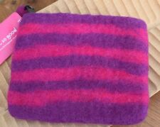 Felt Fair Trade Zipped Coin Purse Pink Purple Striped Stripes Lined Ethical Gift