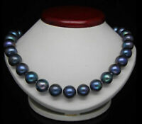 REAL 18''11-12 MM TAHITIAN BLACK BLUE NATURAL PEARL NECKLACE 14K