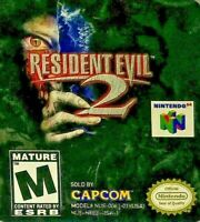 Resident Evil 2 N64 Nintendo 64 Horror Game Cart/Cartridge Tested Works Clean