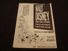 FANTASIA 1940 Walt Disney ad Mickey Mouse, Goofy, Dumbo, 'Single Reel Features'