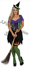 Women Ladies Halloween Enchanting Witch Fancy Dress Horror Glamour  Costume (ET)