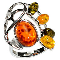 4.3g Authentic Baltic Amber 925 Sterling Silver Ring Jewelry N-A7367