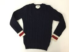 Gucci Navy Blue Cable Jumper Age 4 Years Web Sleeves V Neck Sweater Immaculate
