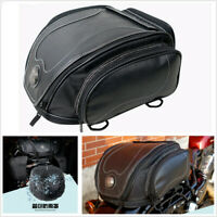 07c4ba082e2 Universal PU Leather Motorcycle Tail Seat Luggage Pack Helmet Bag w/ Rain  Cover