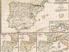 💃⛲️🐃148 Jahre alte Landkarte SPANIEN⚔🛡Westgoten⚔🛡Vandalen Sueben⚔🛡1871