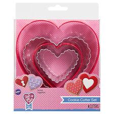 Wilton 4 pc Nested Cookie Cutter Set Heart Valentines Wedding Shower