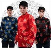 Chinese Tang suit men's tradtional silk/satin jacket/coat Sz: S to 3XL