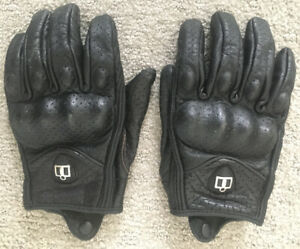 Motorcycle Gloves-Icon Pursuit Leather with Knuckle Plates Men´s Large