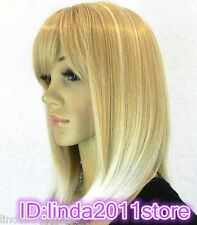 ladies wig Light Gold Blonde Synthetic Hair Wigs Quality Women's Medium Wigs