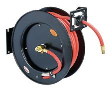 "REELWORKS Steel Retractable Air Hose Reel 3/8"" x 50' Rubber Hose, 300 PSI Cap."