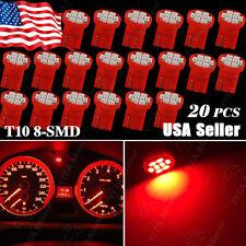 20X Red T10 W5W 158 168 192 194 906 8-SMD LED Dash Speedometer Instrument Light