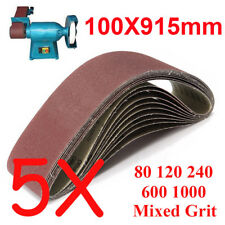 5pcs 100x914mm 915 Sanding Belt 80 120 240 600 1000 Mixed Grit For Wood Grinding