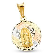 Mujer Guadalupe Moneda Colgante 14k Amarillo Blanco Oro Rosa VIRGIN MARY Sólido