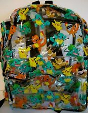 Pokemon Clear Backpack Allover Print Pikachu, Squirtle, Charmander Bag NWT