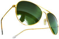 PERFECT GIFT! AVIATOR CLASSIC REAL GLASS GREEN LENS SUNGLASSES GOLD FRAMES MENS