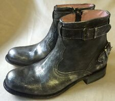 Sendra Bomb Brushed Silver Black Leather Ankle Boots 7 Msrp $425