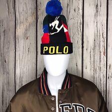 POLO RALPH LAUREN Men's Pom Pom Beanie Hat, Downhill Alpine Ski Racing Skull Cap