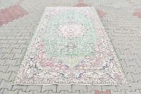 Turkish Rug 66''x113'' Vintage Light Muted Color Rug Oushak Carpet 168x290cm 5x9