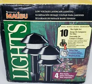 New Malibu Intermatic 10 Tier Light Set Low Voltage With Transformer + 50' Cable