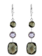 14K White Gold Earrings With Smoky Topaz And Amethyst Gemstones