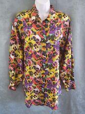 Vintage Protest Oversized Shirt Size Medium Bright Pansy Print 100% Silk Bigshir