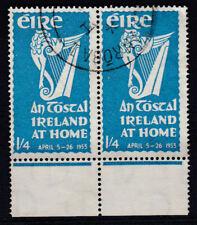 Eire Ireland 1953 Used FU Irish Harp An Tostal at Home April 1s 4d Marginal Pair