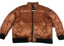 DKNY Men's Water Resistant Color Block Puffer Jacket UltraLoft Orange Size 2XL