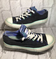 CONVERSE ALL STAR UK Size 4.5 Low Top Black Blue Chuck Taylors Trainers Ladies