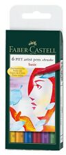 Faber-Castell Pitt Aritst Pen Basic Pk 6 Brush Teacher Resource Craft Ink